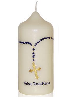 Christliche Kerzen.Christliche Kerze Verziert Mit Rosenkranz Vorname