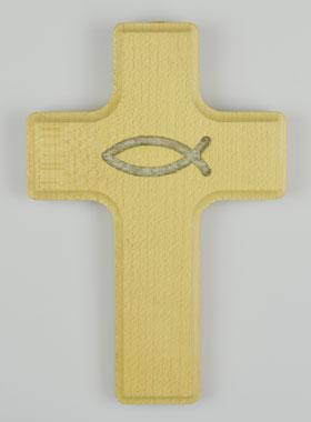 Kreuz Geschenk Zur Taufe Aus Holz Ichtys Fisch Religiöse