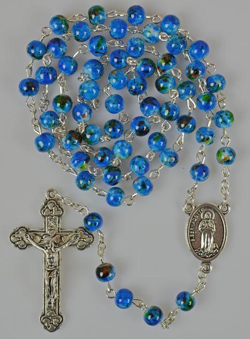 rosenkranz mit wasser aus lourdes perlmutt perlen blau religi se geschenke. Black Bedroom Furniture Sets. Home Design Ideas