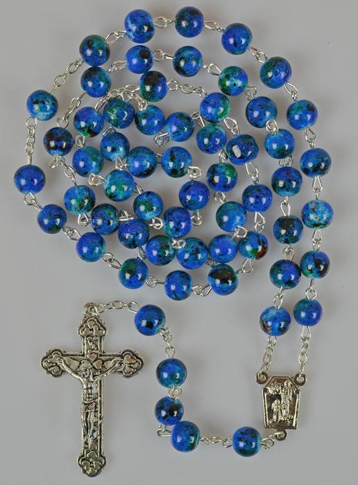 rosenkranz perlmutt perlen blau mit wasser aus lourdes religi se geschenke. Black Bedroom Furniture Sets. Home Design Ideas